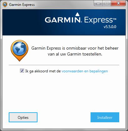 Garmin Express voorwaarden accepteren