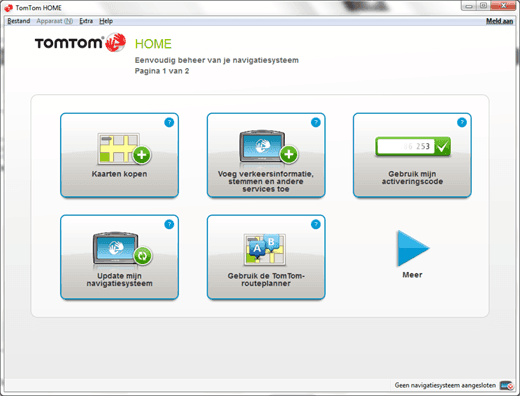 TomTom Home beginscherm